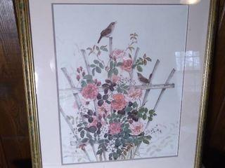 Framed Cyndy Callog 1992 Watercolor Print 154 625 of Birds in Garden