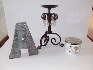 lot of 3 Items   Wooden letter A Tabletop Decoration   French Baguette Bath And Body Works Scented Candle   Primitive Pillar Candle Holder With Dangling Plastic Cristals