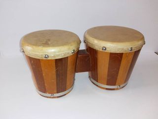Mexican Style Bongo Drums   Small Tear In 1 Drum Head