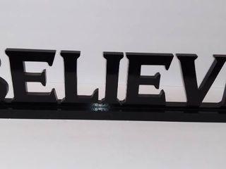 Wooden  BElIEVE  Cutout Decorative Piece   Black   28 Inches