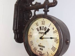 Union Station Replica Decorative Wall Hanging Clock   Tin Metal   Made In China