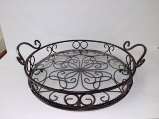Souther living At Home Decorative Metal And Glass Tray   14 Inches