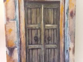 ElIAS Replica landscape Painting Of Old Style Green Double Doors   40 x 30 Inches