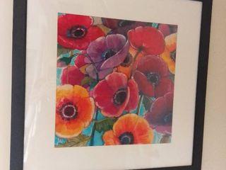 N WYATT JR Replica Painting Of Red Purple Orange Flowers In Black Frame Wall Art   31 x 31 Inches