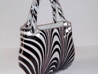 Artisan Made HAND BlOWN GlASS large Decorative Purse   Black And White
