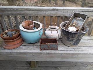 Small lot of Miscellaneous Garden Items   Broken Clay Pots  Rusted Wrought Iron Basket  Etc
