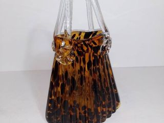 Artisan Made HAND BlOWN GlASS Decorative Purse   Turtle Shell Colored   Small Damages As Pictured