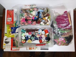 lot Of Sewing Supplies And Cross Stitch Meterials