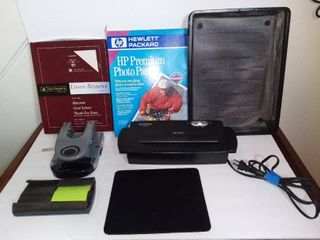 lot Of Office Tools And Supplies   AURORA Paper Shredder Tested And Working   Mass Paper Hole Pincher   PostIt Despenser   2 Metal Paper Trays   SOUTHWORTH linen Resume Paper   HP Premium Photo Paper   Black Mouse Pad