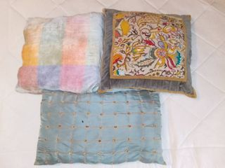 lot Of 3 Decorative Pillows   Cross Stitched Yellow Grey Red Pillow   Blue Pillow   Multicolor Checkered Pillow