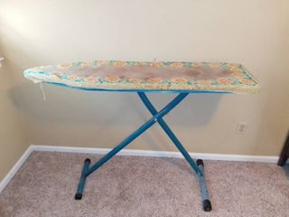 Old Fashion Colapsable Hight Adjustable Ironing Board   Teal   Sunflower Cloth Covering