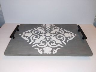 Cute Wooden Footed Serving Tray With Modern Black Handles   Gray With Eligent White Design