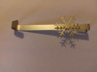 Wreath Hook On The Door With Snow Flake Accent