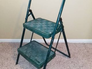 Two Step Colapsable COSCO Step Stool   10 X 15 Wide Steps   Green   Past Use For Painting And Crafts As Pictured