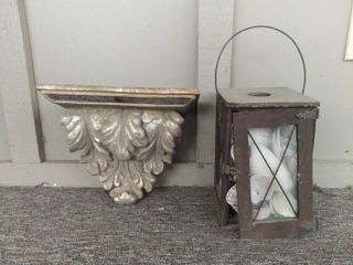 lot of 2 Outside Hanging Items   Wooden and Glass lantern with Seashells inside and a Wall Hanging Decorative Shelf