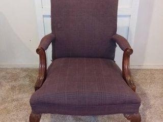 Vintage Mahogany Finish Claw Foot Office Chair   Plaid Fabric   As Pictured