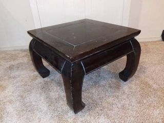 Sturdy Good Quality Side Table   Finished With Dark Stain   Bowed legs   As Pictured