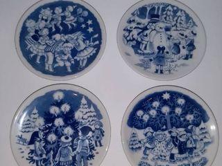 Ornamental Tiny Display Plates   4 With Christmas Scene By Royal Copenhagen Denmark   3 With Famous Places Kongens Nytorv Denmark