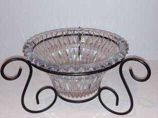 Crystal like Ridged Fruit Bowl With Cute Metal Rack Holder