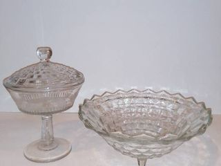 lot Of 2 Clear Crystal Items   1 Footed Fruit Bowl   1 Pedestal Candy Dish With lid