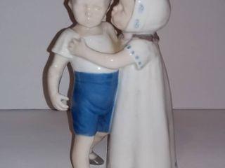Denmark Bing   Grondahl B G Copenhagen Girl Kissing Boy Figurine
