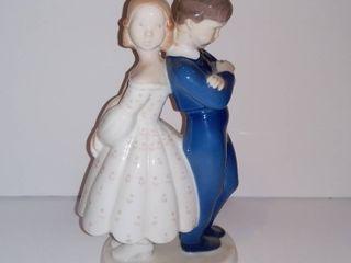 Denmark Bing   Grondahl B G Copenhagen Girl And Boy Back To Back Figurine