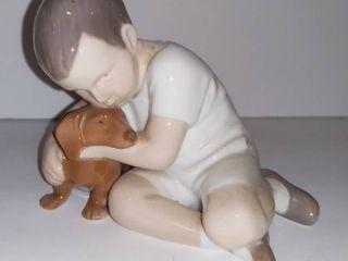 Denmark Bing   Grondahl B G Copenhagen Boy Hugging Dachshund Ceramic Figurine