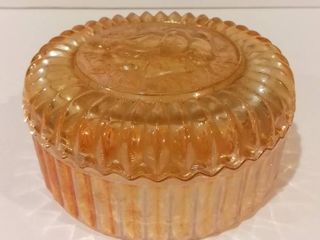Vintage Marigold luster Carnival Glass Covered Dish w  Sawtooth lip   Rose Decor