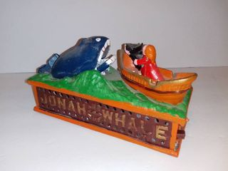 Reproduction Cast Iron Mechanical Bank Jonah and the Whale