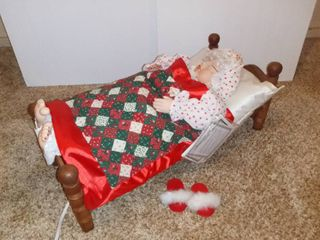 Mrs Claus Christmas On Main Street Collectors Edition The Original Animated Sleeping Mrs Santa With Sound   Slippers And Calander Included   Traded AND WORKING   Animated Snors And Breathing Motion