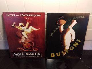 lot Of 2 Wall Hanging Art Pieces   Cafe Martin Paris Happy Man   Pastina Glutinata Buitoni Chef
