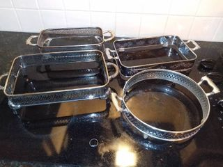 lot Of 4 Vintage Metal Casserole Dish Holders   Fancy Designs