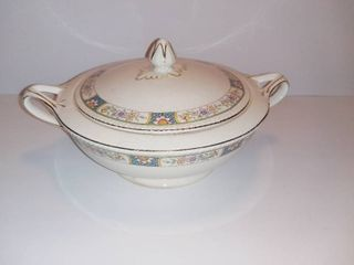 CROWN IVORY Fine China Soup Dish With lid   Floral Design