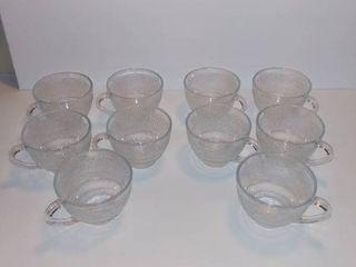 Clear Glass Replica 10 Tea Cups   Etched Floral Design