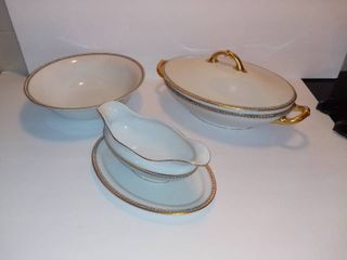 lot Of 3 H Co Selb Bavaria Fine China Gold Toned Accented Pieces   1 Oval Soup Dish With lid   1 Gravy Dish   1 Fruit Bowl