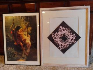 lot Of 2 Wall Hanging Art Pieces   1 THE SWING Pierre A Cot Print 20 5 X 29   1 Graphic Design Piece Wood Frame 24 5 X 30 5