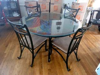 Glass Top Stone and Iron Kitchen Table   4 Matching Iron Chairs  Padded Seats
