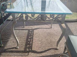 Glass Top Iron Base Grape Design Square Patio Table