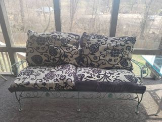 Teal Wrought Iron Couch Frame   leaf Design   Pillows Included