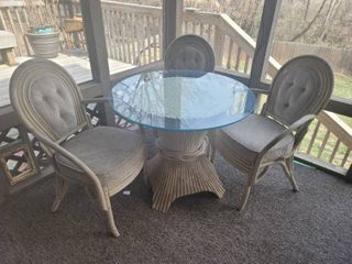 McGuire Style Ratan Glass Top Patio Table with 3 Chairs   Cushions Need TlC  Ratan itself in Decent Condition