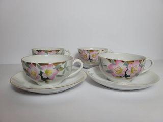lot of 4 Noritake Azalea Tea Cups and Saucers