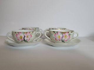 lot of 4 Double Handled Double Handle Noritake Azalea Cups and Suacers