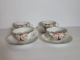 Set of 4 Noritake Azalea Teacups and Saucers