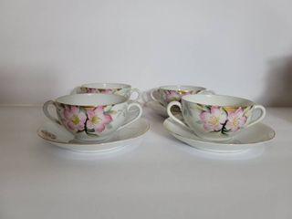 lot of 4 Double Handle Noritake Azalea Hand Painted Teacups and Saucers