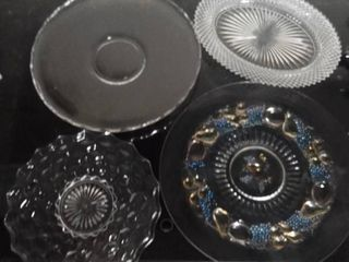 lot of 4 Glass Etched Platters with Various Sizes and Designs   Pear and Apple Etched Platter  Diamond Cut Platters  Etc
