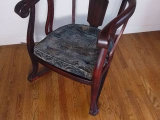 Early 1900s Jaccobean Claw Foot Wooden Rocking Chair with Original Patterned Cushion
