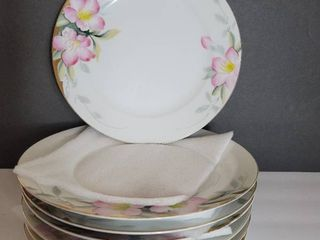lot of 7 Noritake Azalea Dinner Plates 10 inches   Red label