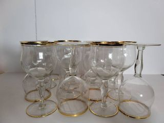lot of 12 Double Gold Tone Glasses   6 Wine   6 Water