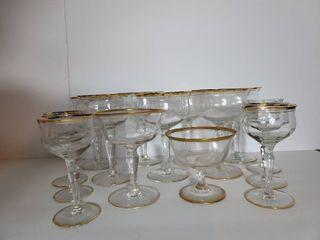 lot of 15 Gold Tone Rim Formal liquor Glasses