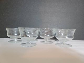lot of 6 Etched Wheat Design Elequint Compote
